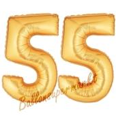 Zahl 55, Gold, Luftballons aus Folie zum 55. Geburtstag, 100 cm, inklusive Helium