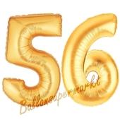 Zahl 56, Gold, Luftballons aus Folie zum 56. Geburtstag, 100 cm, inklusive Helium