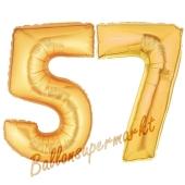 Zahl 57, Gold, Luftballons aus Folie zum 57. Geburtstag, 100 cm, inklusive Helium
