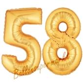 Zahl 58, Gold, Luftballons aus Folie zum 58. Geburtstag, 100 cm, inklusive Helium