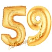 Zahl 59, Gold, Luftballons aus Folie zum 59. Geburtstag, 100 cm, inklusive Helium