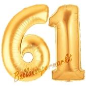 Zahl 61, Gold, Luftballons aus Folie zum 61. Geburtstag, 100 cm, inklusive Helium