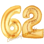 Zahl 62, Gold, Luftballons aus Folie zum 62. Geburtstag, 100 cm, inklusive Helium