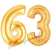 Zahl 63, Gold, Luftballons aus Folie zum 63. Geburtstag, 100 cm, inklusive Helium
