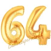 Zahl 64, Gold, Luftballons aus Folie zum 64. Geburtstag, 100 cm, inklusive Helium