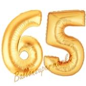 Zahl 65, Gold, Luftballons aus Folie zum 65. Geburtstag, 100 cm, inklusive Helium