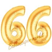 Zahl 66, Gold, Luftballons aus Folie zum 66. Geburtstag, 100 cm, inklusive Helium