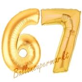 Zahl 67, Gold, Luftballons aus Folie zum 67. Geburtstag, 100 cm, inklusive Helium
