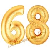 Zahl 68, Gold, Luftballons aus Folie zum 68. Geburtstag, 100 cm, inklusive Helium