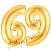 Zahl 69, Gold, Luftballons aus Folie zum 69. Geburtstag, 100 cm, inklusive Helium
