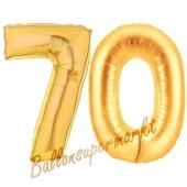 Zahl 70, Gold, Luftballons aus Folie zum 70. Geburtstag