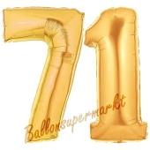 Zahl 71, Gold, Luftballons aus Folie zum 71. Geburtstag, 100 cm, inklusive Helium