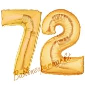Zahl 72, Gold, Luftballons aus Folie zum 72. Geburtstag, 100 cm, inklusive Helium