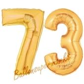 Zahl 73, Gold, Luftballons aus Folie zum 73. Geburtstag, 100 cm, inklusive Helium