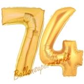Zahl 74, Gold, Luftballons aus Folie zum 74. Geburtstag, 100 cm, inklusive Helium