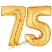 Zahl 75, Gold, Luftballons aus Folie zum 75. Geburtstag, 100 cm, inklusive Helium