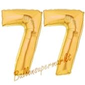 Zahl 77 Gold, Luftballons aus Folie zum 77. Geburtstag, 100 cm, inklusive Helium