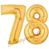 Zahl 78 Gold, Luftballons aus Folie zum 78. Geburtstag, 100 cm, inklusive Helium
