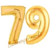 Zahl 79 Gold, Luftballons aus Folie zum 79. Geburtstag, 100 cm, inklusive Helium