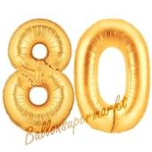 Zahl 80, Gold, Luftballons aus Folie zum 80. Geburtstag