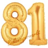 Zahl 81, Gold, Luftballons aus Folie zum 81. Geburtstag, 100 cm, inklusive Helium