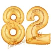 Zahl 82, Gold, Luftballons aus Folie zum 82. Geburtstag, 100 cm, inklusive Helium