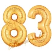 Zahl 83, Gold, Luftballons aus Folie zum 83. Geburtstag, 100 cm, inklusive Helium