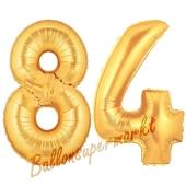 Zahl 84, Gold, Luftballons aus Folie zum 84. Geburtstag, 100 cm, inklusive Helium
