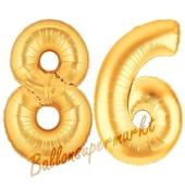 Zahl 86, Gold, Luftballons aus Folie zum 86. Geburtstag, 100 cm, inklusive Helium