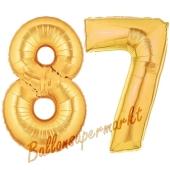 Zahl 87, Gold, Luftballons aus Folie zum 87. Geburtstag, 100 cm, inklusive Helium