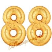 Zahl 88, Gold, Luftballons aus Folie zum 88. Geburtstag, 100 cm, inklusive Helium