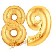 Zahl 89, Gold, Luftballons aus Folie zum 89. Geburtstag, 100 cm, inklusive Helium