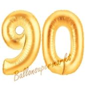 Zahl 90, Gold, Luftballons aus Folie zum 90. Geburtstag