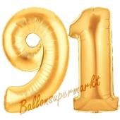 Zahl 91, Gold, Luftballons aus Folie zum 91. Geburtstag, 100 cm, inklusive Helium