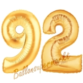 Zahl 92, Gold, Luftballons aus Folie zum 92. Geburtstag, 100 cm, inklusive Helium