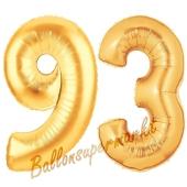 Zahl 93, Gold, Luftballons aus Folie zum 93. Geburtstag, 100 cm, inklusive Helium