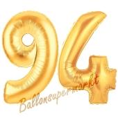 Zahl 94, Gold, Luftballons aus Folie zum 94. Geburtstag, 100 cm, inklusive Helium