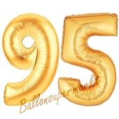 Zahl 95, Gold, Luftballons aus Folie zum 95. Geburtstag, 100 cm, inklusive Helium