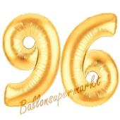Zahl 96, Gold, Luftballons aus Folie zum 96. Geburtstag, 100 cm, inklusive Helium