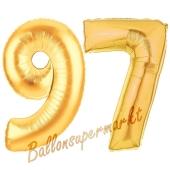 Zahl 97, Gold, Luftballons aus Folie zum 97. Geburtstag, 100 cm, inklusive Helium