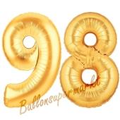 Zahl 98, Gold, Luftballons aus Folie zum 98. Geburtstag, 100 cm, inklusive Helium