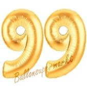 Zahl 99, Gold, Luftballons aus Folie zum 99. Geburtstag, 100 cm, inklusive Helium