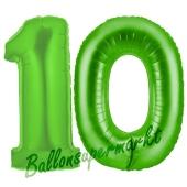 Zahl 10 Grün, Luftballons aus Folie zum 10. Geburtstag, 100 cm, inklusive Helium