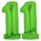 Zahl 11 Grün, Luftballons aus Folie zum 11. Geburtstag, 100 cm, inklusive Helium