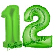 Zahl 12 Grün, Luftballons aus Folie zum 12. Geburtstag, 100 cm, inklusive Helium