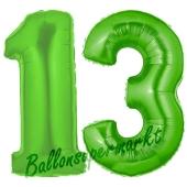 Zahl 13 Grün, Luftballons aus Folie zum 13. Geburtstag, 100 cm, inklusive Helium
