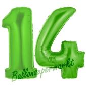 Zahl 14 Grün, Luftballons aus Folie zum 14. Geburtstag, 100 cm, inklusive Helium