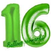 Zahl 16 Grün, Luftballons aus Folie zum 16. Geburtstag, 100 cm, inklusive Helium