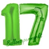 Zahl 17 Grün, Luftballons aus Folie zum 17. Geburtstag, 100 cm, inklusive Helium