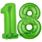 Zahl 18 Grün, Luftballons aus Folie zum 18. Geburtstag, 100 cm, inklusive Helium